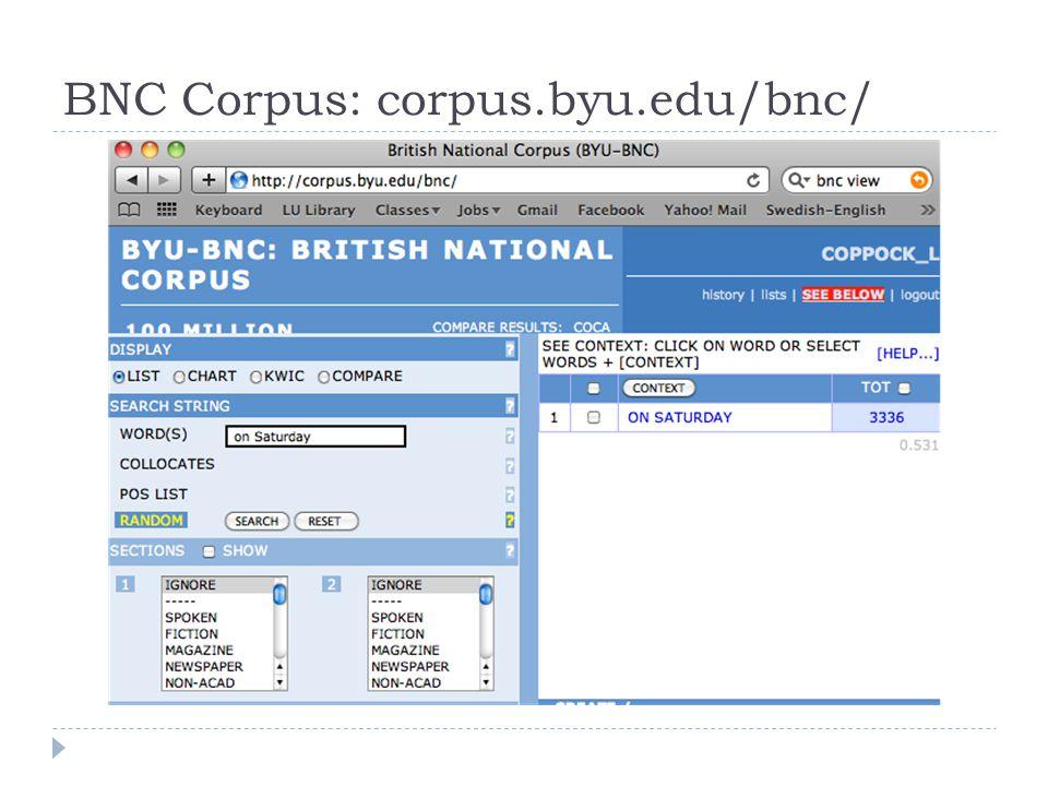BNC Corpus: corpus.byu.edu/bnc/