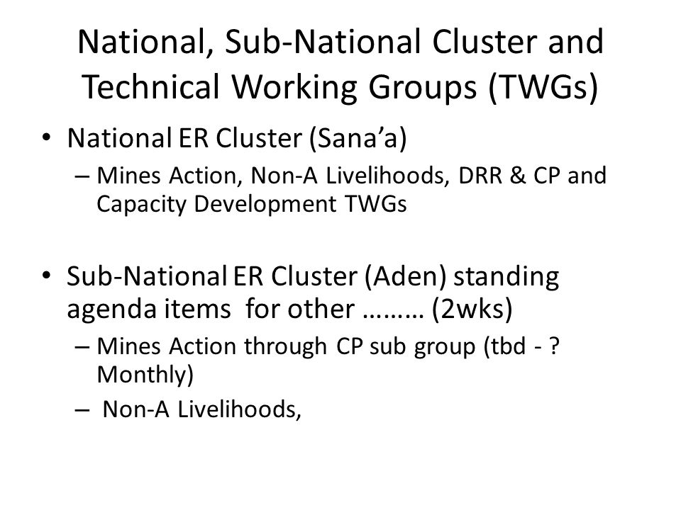 National, Sub-National Cluster and Technical Working Groups (TWGs) National ER Cluster (Sana'a) – Mines Action, Non-A Livelihoods, DRR & CP and Capaci