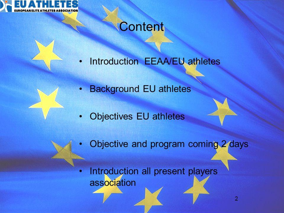 3 EEAA European Elite Athletes Association founded in january 2007 –SICO: Peter Hagsberg –SP.IN: Walter Palmer –PRA: Damian Hopley –NL Sporter: Frederieke Leeflang –NL Sporter: Yves Kummer