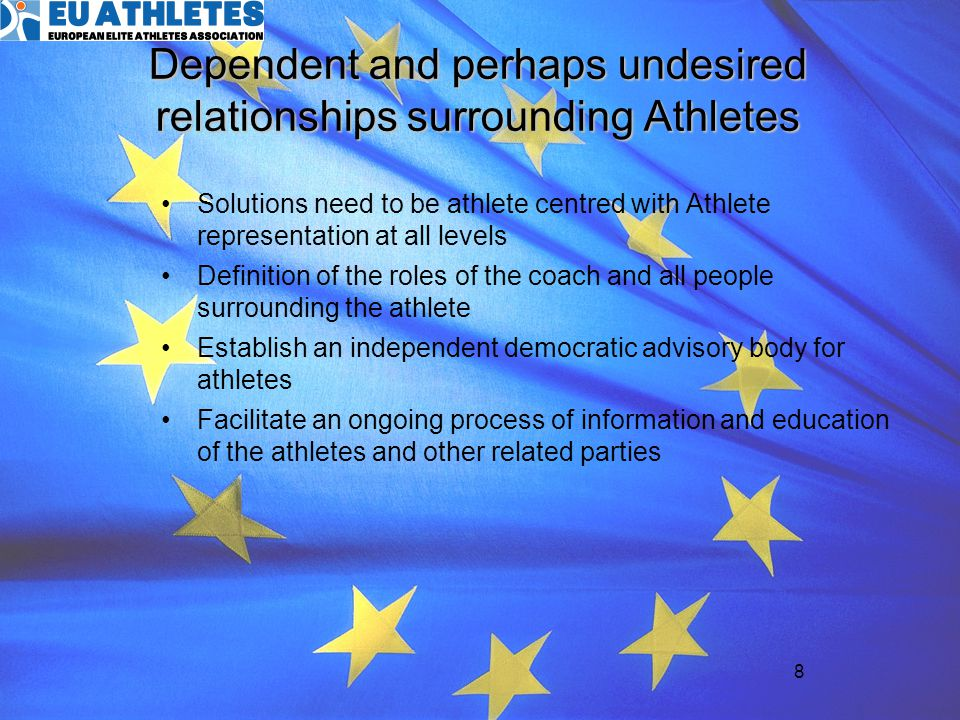19 Objective project Organize and structure athletes voice towards the EU and other social partners Create a social partner that meets the requirements for social dialogue