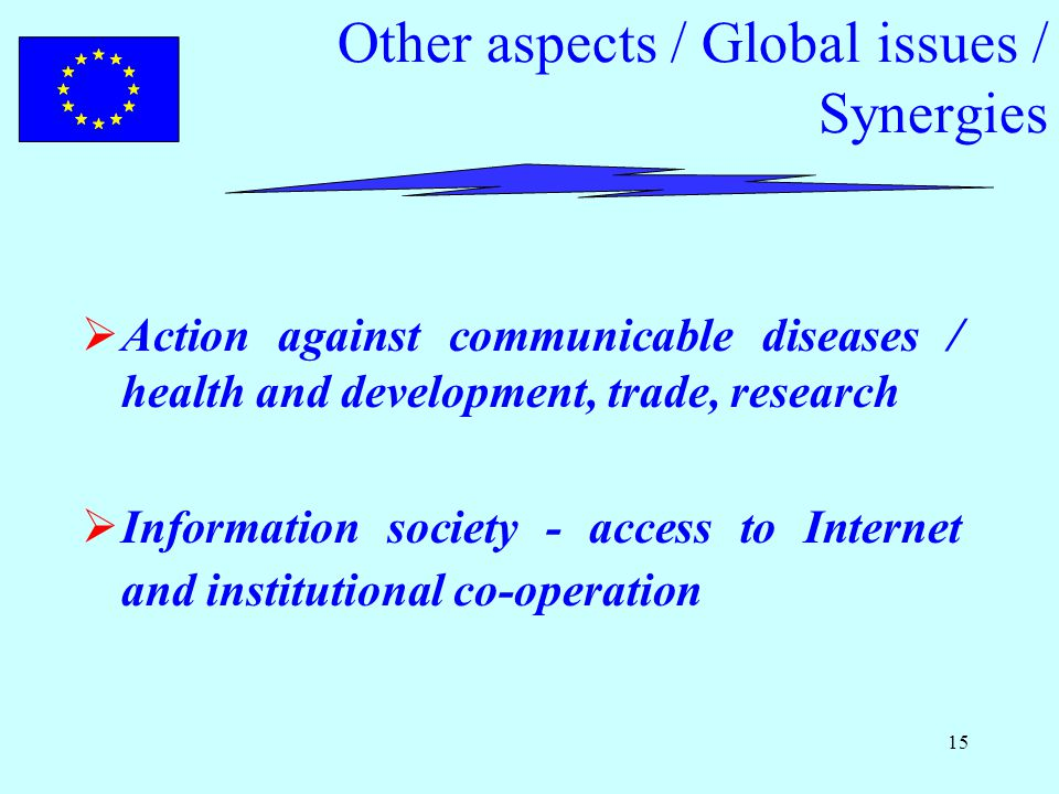 15 Other aspects / Global issues / Synergies  Action against communicable diseases / health and development, trade, research  Information society - access to Internet and institutional co-operation