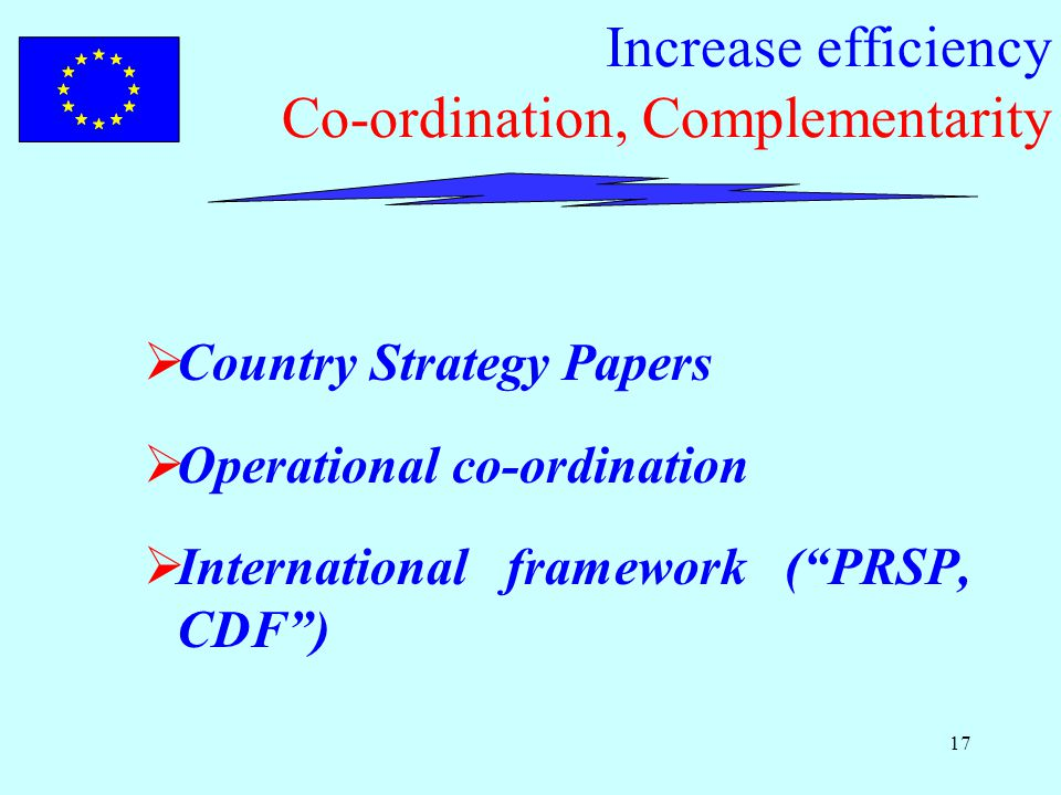 17 Increase efficiency Co-ordination, Complementarity  Country Strategy Papers  Operational co-ordination  International framework ( PRSP, CDF )