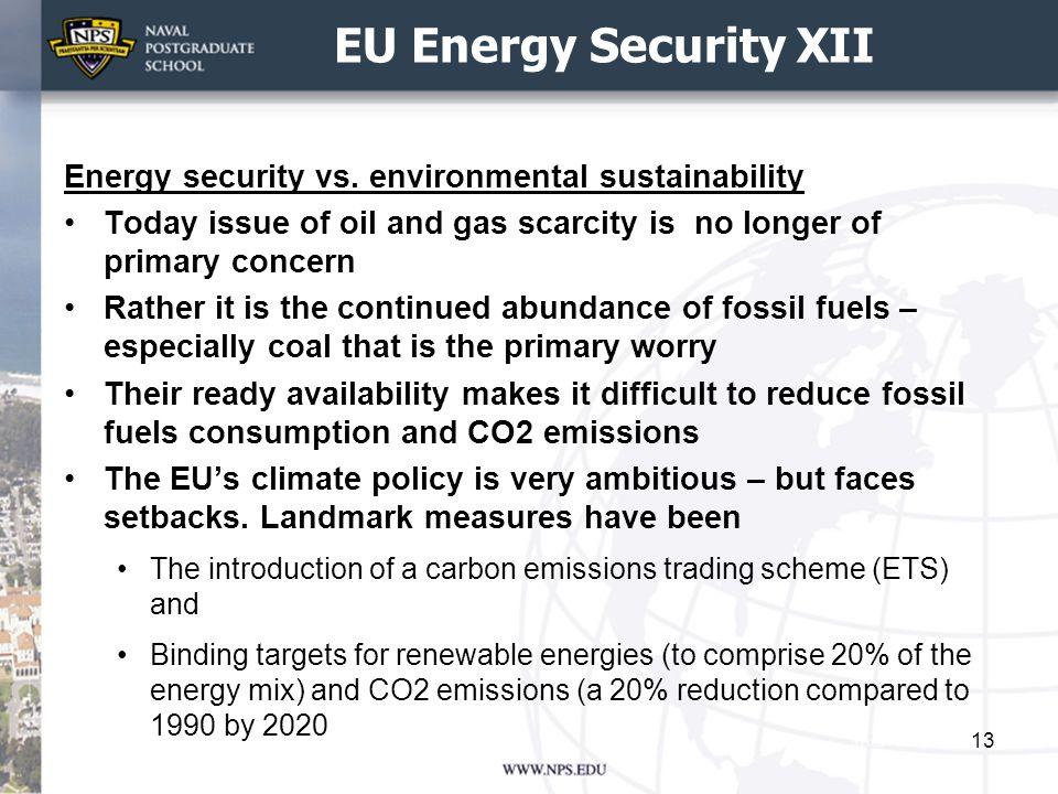EU Energy Security XII Energy security vs.