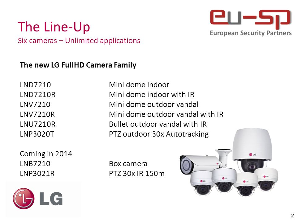 The feature set Matching most needs 3 Camera features 60 fps high speed streaming WDR up to 108dB Motorized lens (Zoom & Focus) 3-9mm DEFOG function Videoanalytics EIS (Electronic Image Stabilizer) IP66 (outdoor versions) Vandal resistant (outdoor versions) ONVIF compatible Profile S SMART IR (adaptive IR level) Micro SD card support APP support for Apple & Android SmartControl features 350° Pan Function 90° Tilt Function 3 x optical Zoom Auto Focus (D/N and Zoom triggered) Rotating CMOS (Pivot: Portrait/Landscape) Full remote Control for Installation and Maintenance 30.000h MTBF