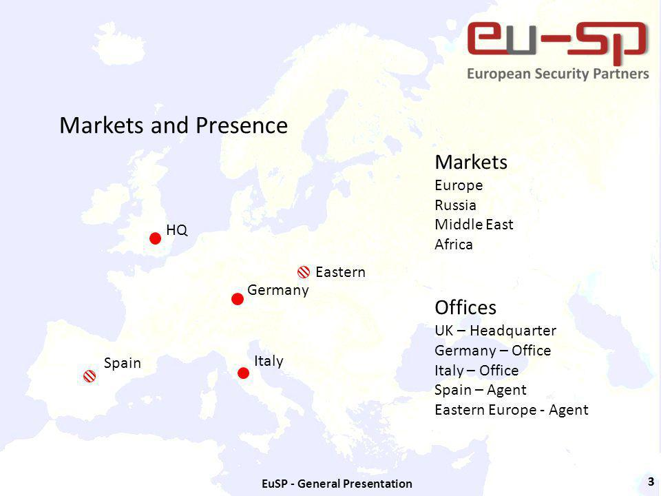 EuSP - General Presentation 33 Markets and Presence HQ Germany Italy Markets Europe Russia Middle East Africa Offices UK – Headquarter Germany – Office Italy – Office Spain – Agent Eastern Europe - Agent Spain Eastern