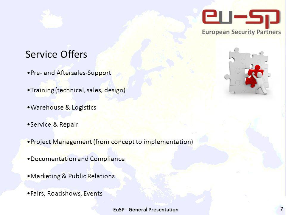 EuSP - General Presentation 7 Service Offers Pre- and Aftersales-Support Training (technical, sales, design) Warehouse & Logistics Service & Repair Project Management (from concept to implementation) Documentation and Compliance Marketing & Public Relations Fairs, Roadshows, Events