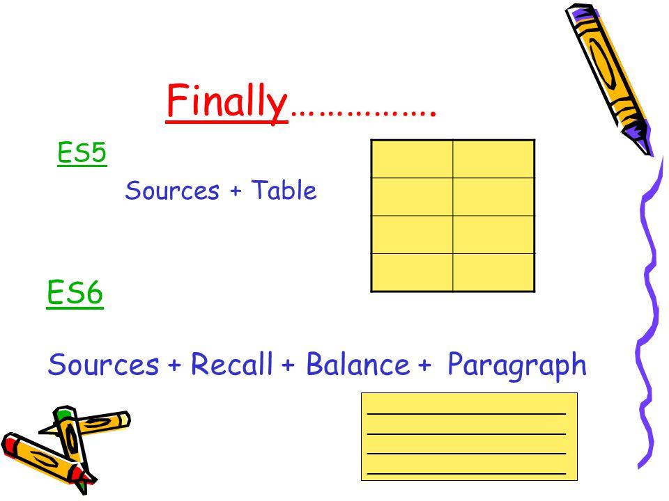 Finally……………. ES5 Sources + Table ES6 Sources + Recall + Balance + Paragraph ___________________ ___________________