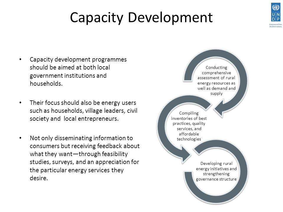 Capacity Development Capacity development programmes should be aimed at both local government institutions and households.