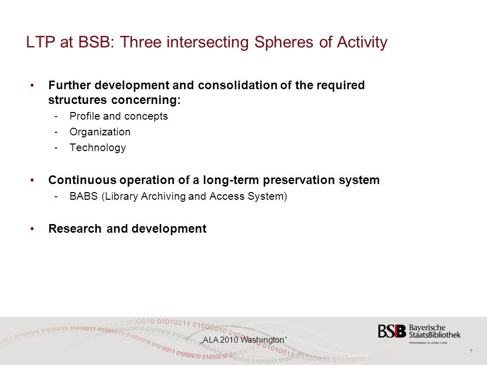 "7 ""ALA 2010 Washington LTP at BSB: Three intersecting Spheres of Activity Further development and consolidation of the required structures concerning: -Profile and concepts -Organization -Technology Continuous operation of a long-term preservation system -BABS (Library Archiving and Access System) Research and development"