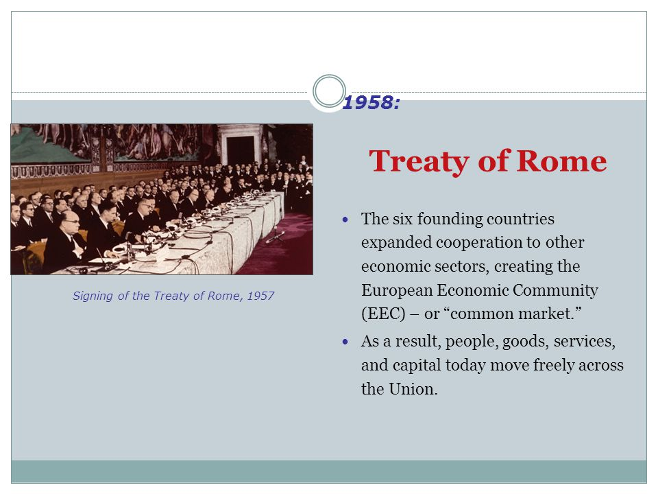 "Treaty of Rome The six founding countries expanded cooperation to other economic sectors, creating the European Economic Community (EEC) – or ""common"
