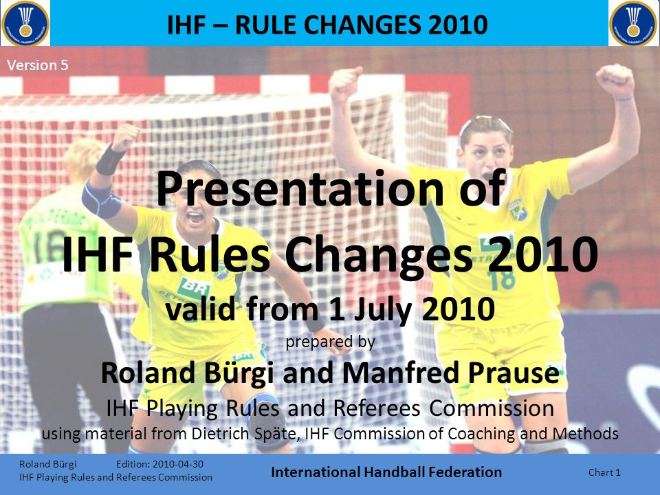 IHF – RULE CHANGES 2010 Presentation of IHF Rules Changes 2010 valid from 1 July 2010 prepared by Roland Bürgi and Manfred Prause IHF Playing Rules and Referees Commission using material from Dietrich Späte, IHF Commission of Coaching and Methods Roland Bürgi Edition: 2010-04-30 IHF Playing Rules and Referees Commission International Handball Federation Chart 1 Version 5