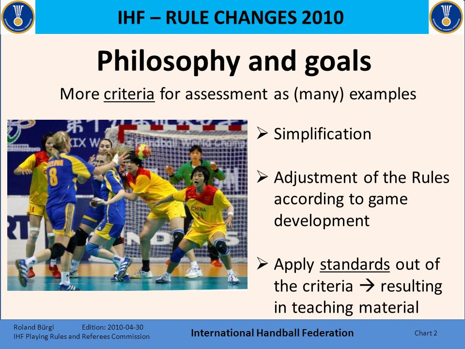 IHF – RULE CHANGES 2010 Philosophy and goals International Handball Federation Chart 2 More criteria for assessment as (many) examples  Simplification  Adjustment of the Rules according to game development  Apply standards out of the criteria  resulting in teaching material Roland Bürgi Edition: 2010-04-30 IHF Playing Rules and Referees Commission