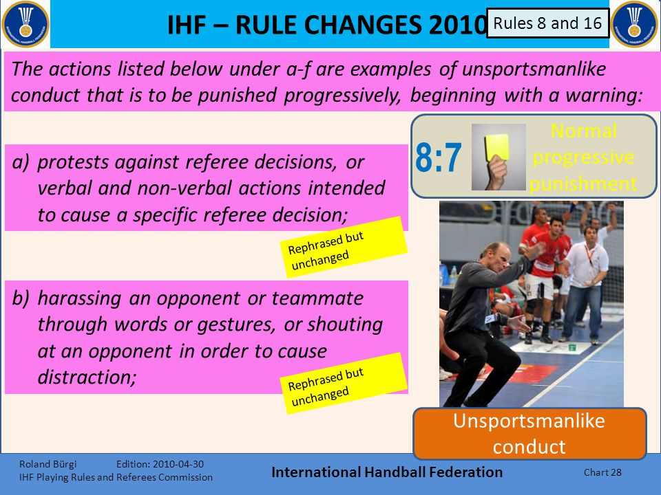 IHF – RULE CHANGES 2010 International Handball Federation Chart 27 Unsportsmanlike conduct 8:8 Direct 2- minute suspension 8:7 Normal progressive puni