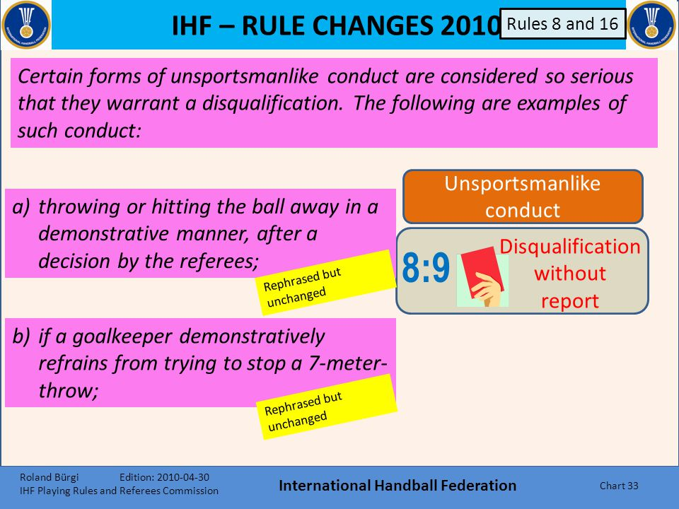 IHF – RULE CHANGES 2010 International Handball Federation Chart 32 8:8 Direct 2- minute suspension c)blocking the access to a ball that went into the