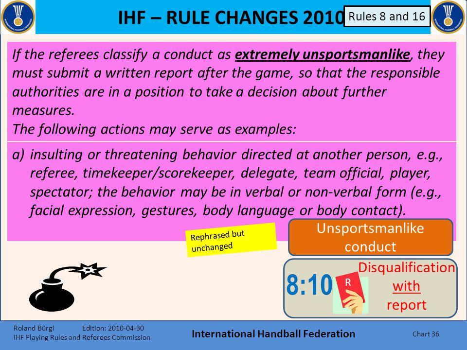 IHF – RULE CHANGES 2010 International Handball Federation Chart 35 8:9 Disqualification without report e)when a free-throw shooter hits a defender`s h