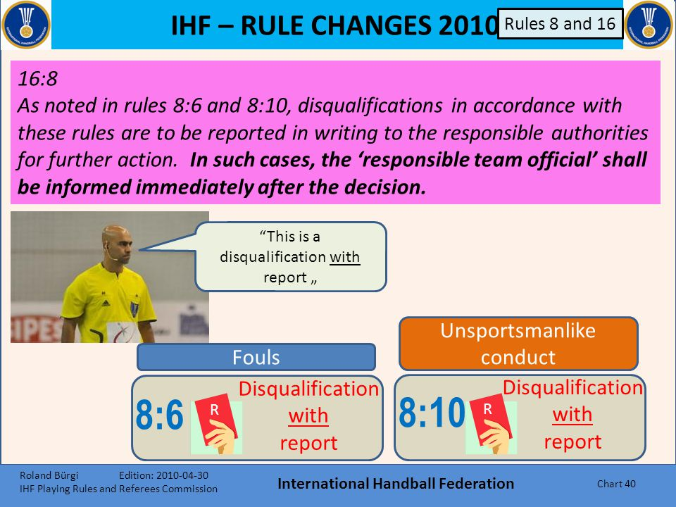 IHF – RULE CHANGES 2010 International Handball Federation Chart 39 8:10 R Disqualification with report d)if during the last minute of a game the ball