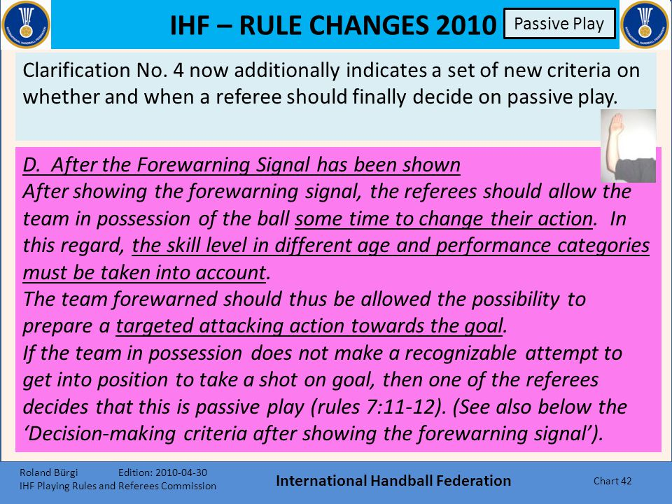 IHF – RULE CHANGES 2010 Passive Play International Handball Federation Chart 41 Passive Play Clarification No.