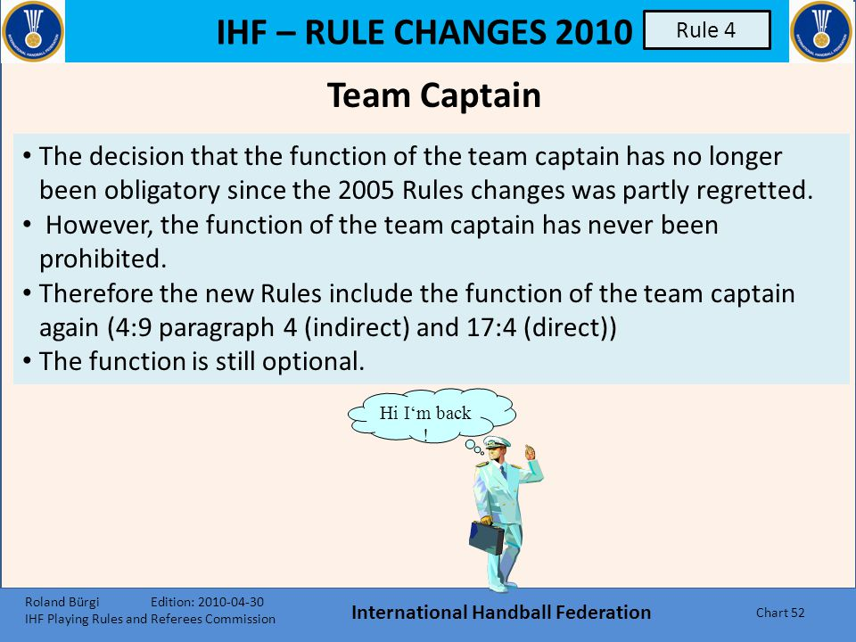 IHF – RULE CHANGES 2010 The Team, Substitutions, Equipment, Player Injuries International Handball Federation Chart 51 Rule 4 Roland Bürgi Edition: 20
