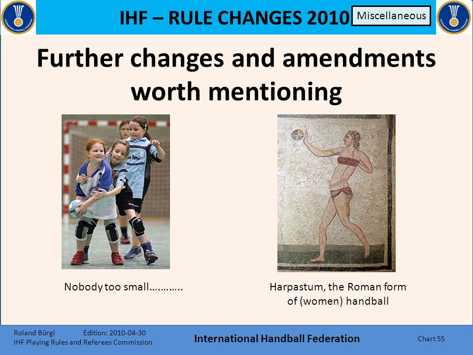 IHF – RULE CHANGES 2010 International Handball Federation Chart 54 Headscarves By including headscarves (as long as they are made of soft, elastic mat