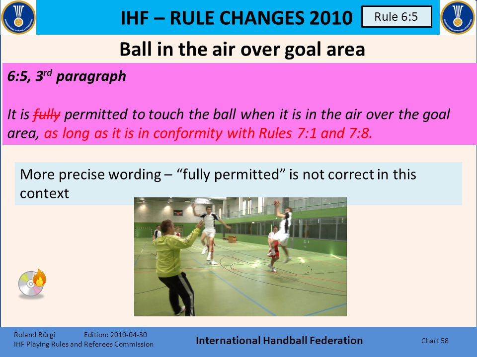 IHF – RULE CHANGES 2010 International Handball Federation Chart 57 Rule 6:2 6:2When a court player enters the goal area, the decisions shall be as fol