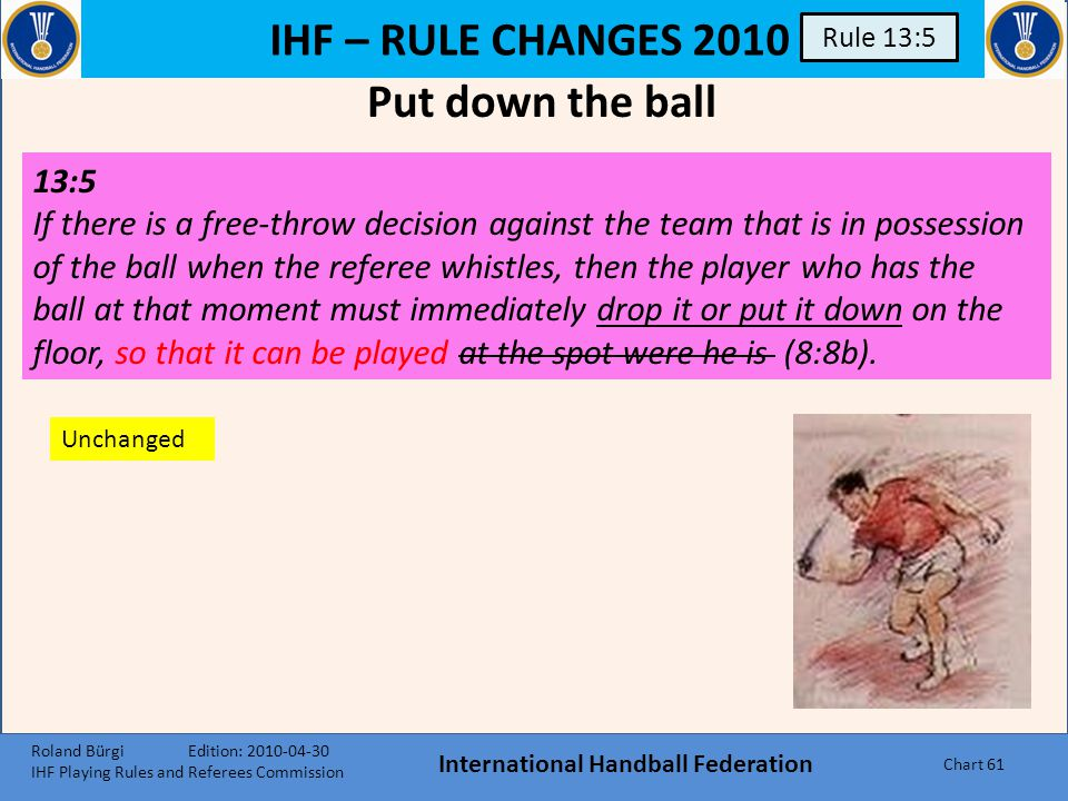 IHF – RULE CHANGES 2010 International Handball Federation Chart 60 Rule 9:1 9:1, 3 rd paragraph: A goal cannot be awarded if a referee, timekeeper or