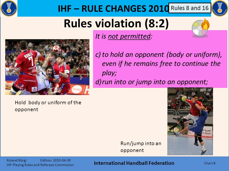 IHF – RULE CHANGES 2010 International Handball Federation Chart 58 Rule 6:5 6:5, 3 rd paragraph It is fully permitted to touch the ball when it is in the air over the goal area, as long as it is in conformity with Rules 7:1 and 7:8.