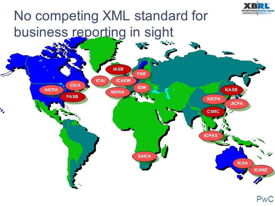PwC No competing XML standard for business reporting in sight AICPA ICAA ICAEW NIVRA IDW KICPA JICPA ICPAS CICA FAR IASB FASB ICANZ KASB ICAI CSRC SAI