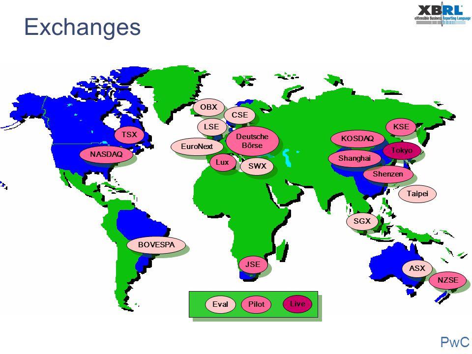 PwC Exchanges NASDAQ BOVESPA ASX JSE Shenzen EuroNext KOSDAQ Tokyo SGX Lux Pilot Live Eval TSX OBX LSE CSE Deutsche Börse Deutsche Börse Shanghai Taip