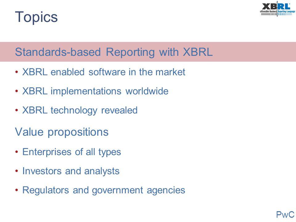 PwC Data is Shared Deposit Insurance --- Statistics --- -- Comptroller -- Data is Shared Deposit Insurance --- Statistics --- -- Comptroller -- Typical XBRL Regulator Use Bank Performance Data Meta Data Quarterly Report XBRL Document Reporting Institution Software Import Schedule Enter Data Validate Data Send Data XBRL Taxonomy Software Create Update Debug Schedule or Form XBRL Taxonomy Item Types Labels, Definitions, etc.