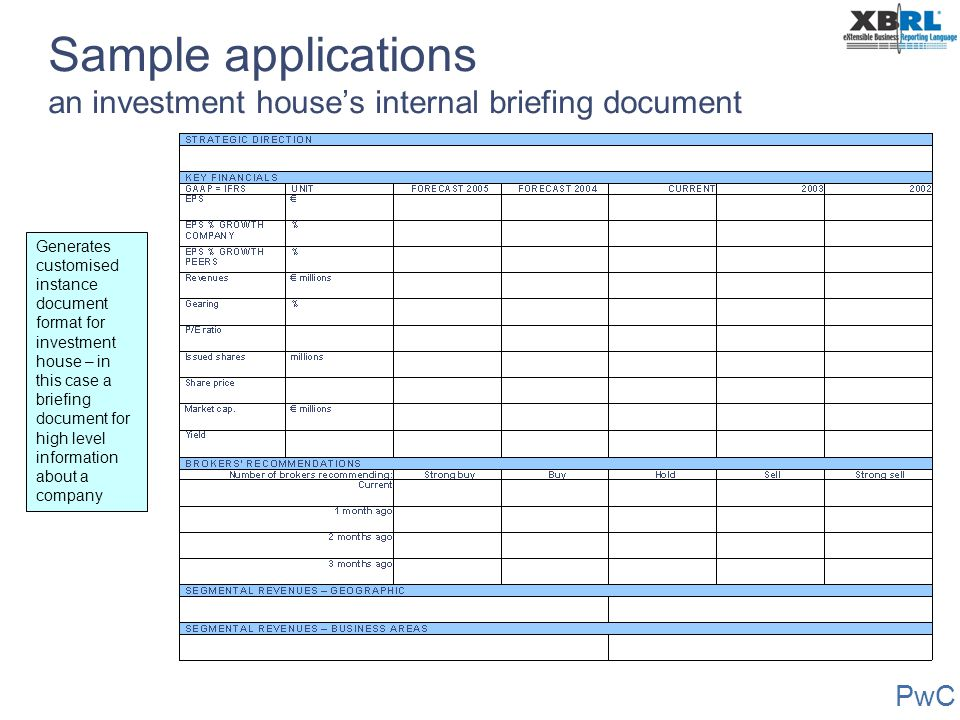 PwC Sample applications an investment house's internal briefing document Generates customised instance document format for investment house – in this