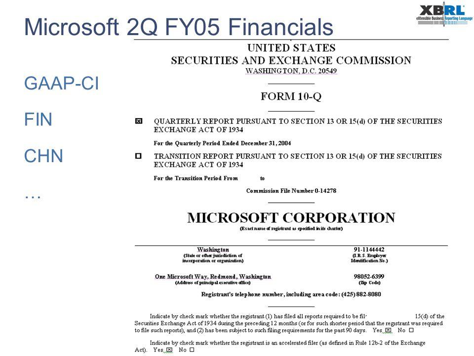 PwC Microsoft 2Q FY05 Financials GAAP-CI FIN CHN …