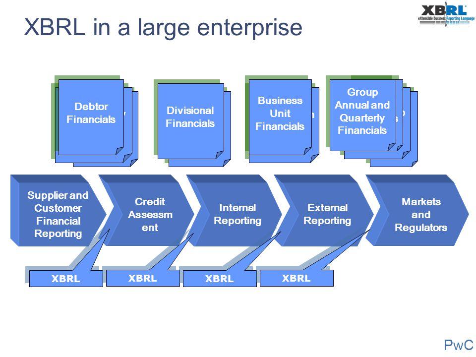 PwC XBRL in a large enterprise Managemen t Reports Portfolio Financials External Reporting Supplier and Customer Financial Reporting Internal Reportin