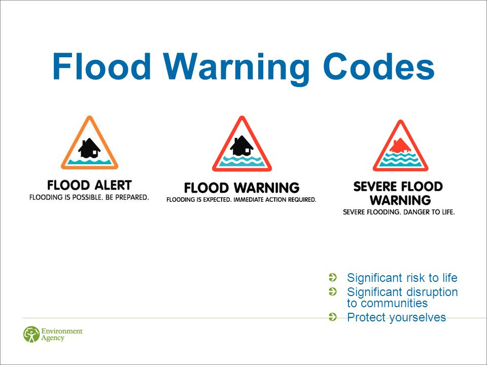 Flood Warning Codes Significant risk to life Significant disruption to communities Protect yourselves