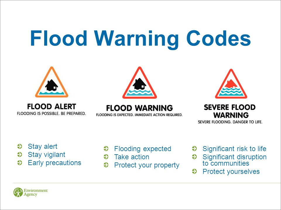 Flood Warning Codes Stay alert Stay vigilant Early precautions Flooding expected Take action Protect your property Significant risk to life Significant disruption to communities Protect yourselves