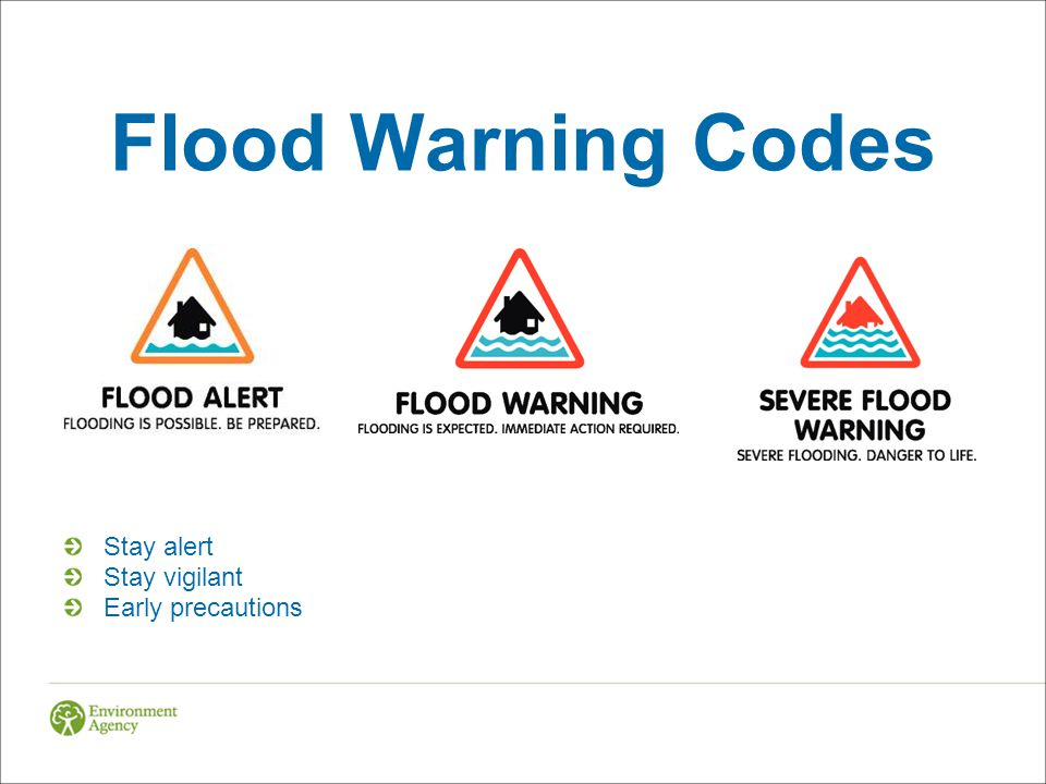 Flood Warning Codes Stay alert Stay vigilant Early precautions