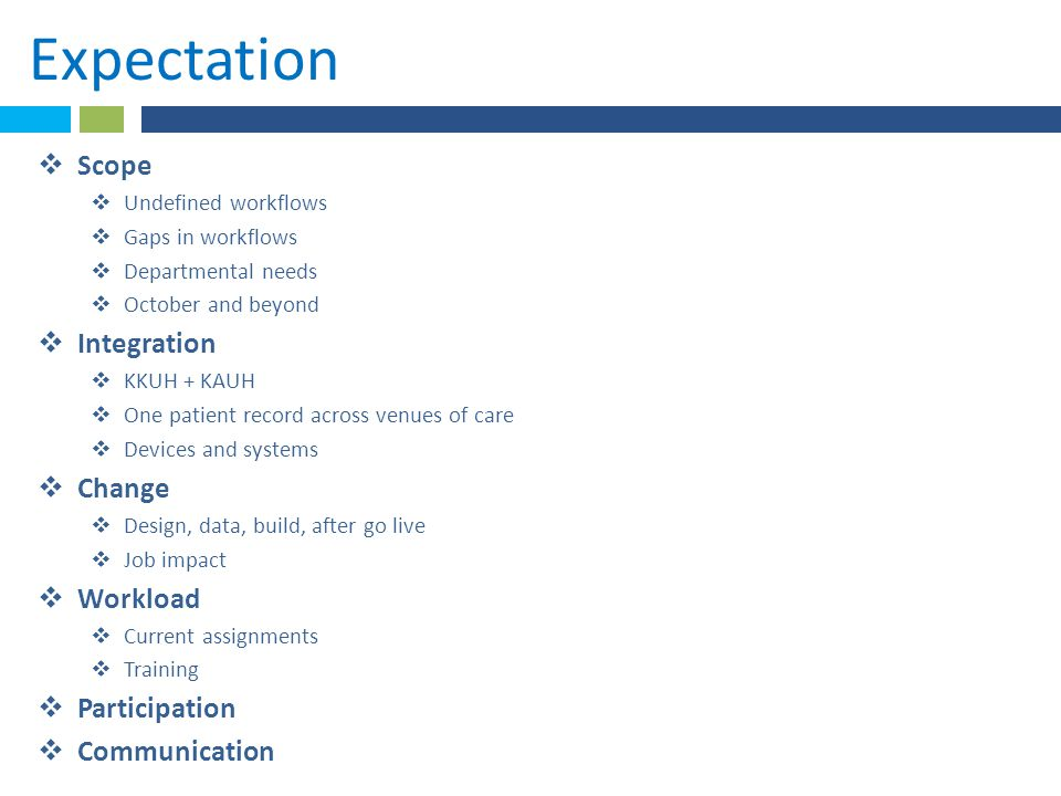 Expectation  Scope  Undefined workflows  Gaps in workflows  Departmental needs  October and beyond  Integration  KKUH + KAUH  One patient reco
