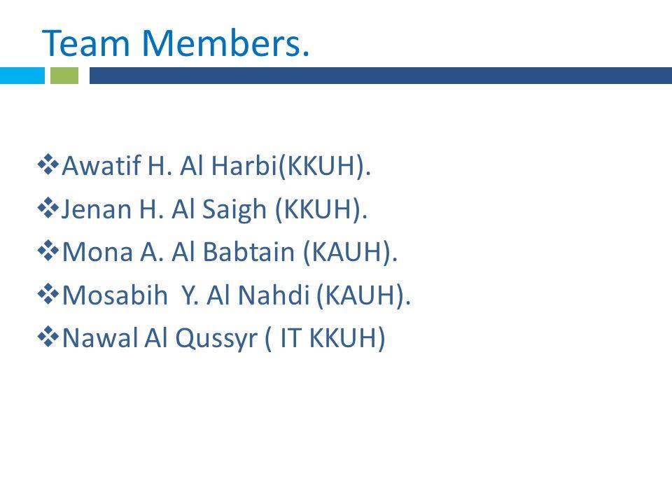 * Team Members..  Awatif H. Al Harbi(KKUH).  Jenan H.