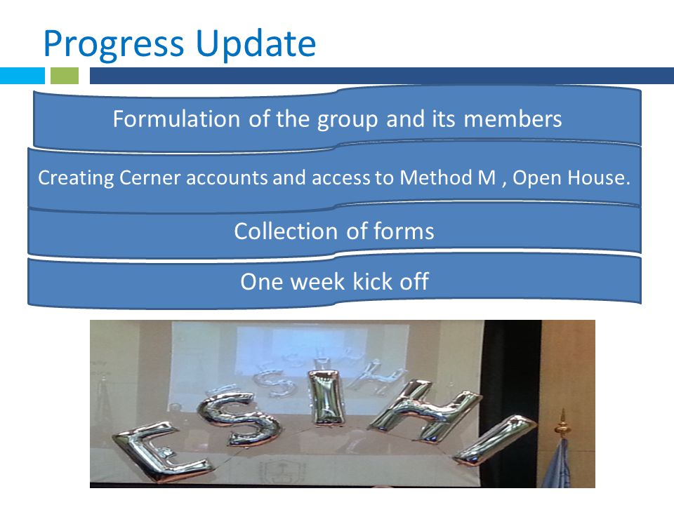* Progress Update 1. Formulation of the group and its members Creating Cerner accounts and access to Method M, Open House. Collection of forms One wee