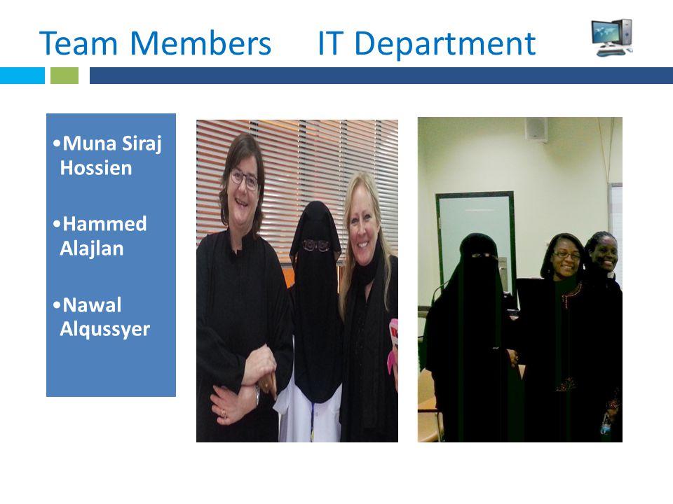 * Team Members IT Department.IITIT Muna Siraj Hossien Hammed Alajlan Nawal Alqussyer