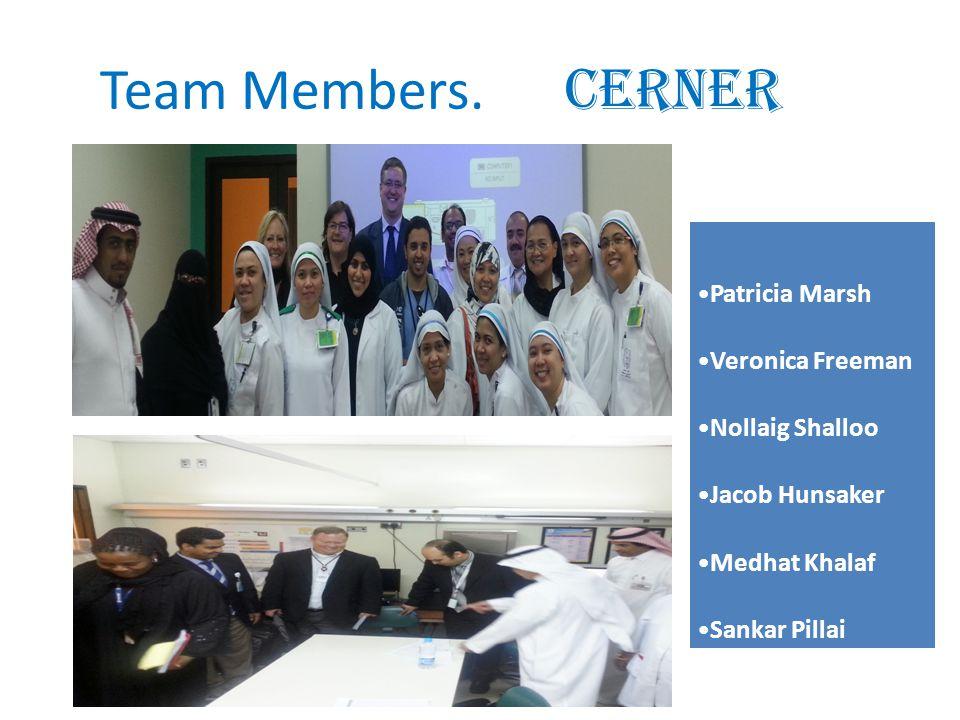 Patricia Marsh Veronica Freeman Nollaig Shalloo Jacob Hunsaker Medhat Khalaf Sankar Pillai * Team Members. CERNER.