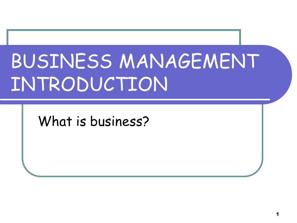 1 BUSINESS MANAGEMENT INTRODUCTION What is business