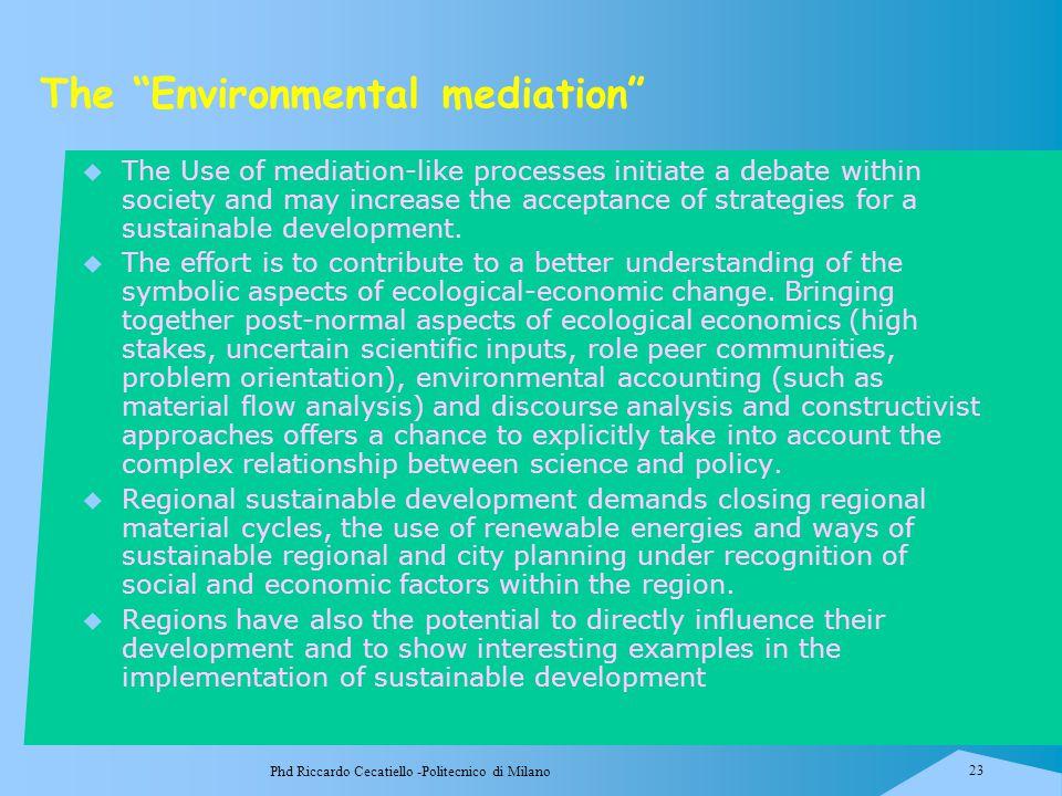 "Phd Riccardo Cecatiello -Politecnico di Milano 23 The ""Environmental mediation""  The Use of mediation-like processes initiate a debate within society"
