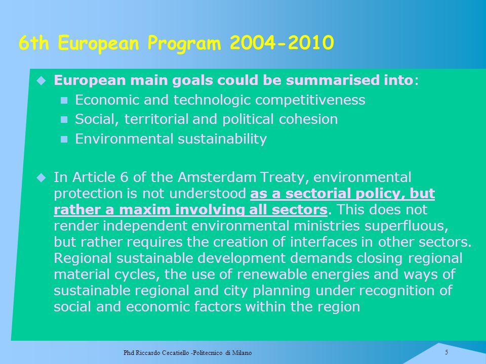 Phd Riccardo Cecatiello -Politecnico di Milano 5 6th European Program 2004-2010  European main goals could be summarised into: Economic and technolog