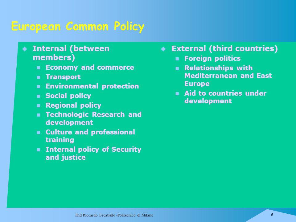 Phd Riccardo Cecatiello -Politecnico di Milano 6 European Common Policy  Internal (between members) Economy and commerce Transport Environmental prot