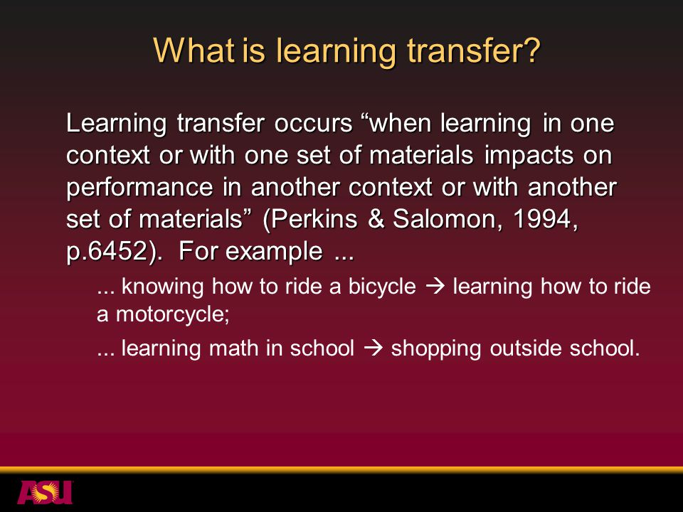 What is learning transfer.