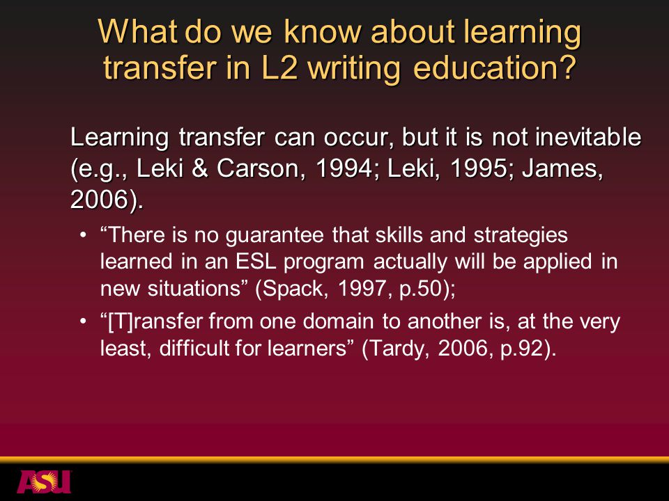 What do we know about learning transfer in L2 writing education.
