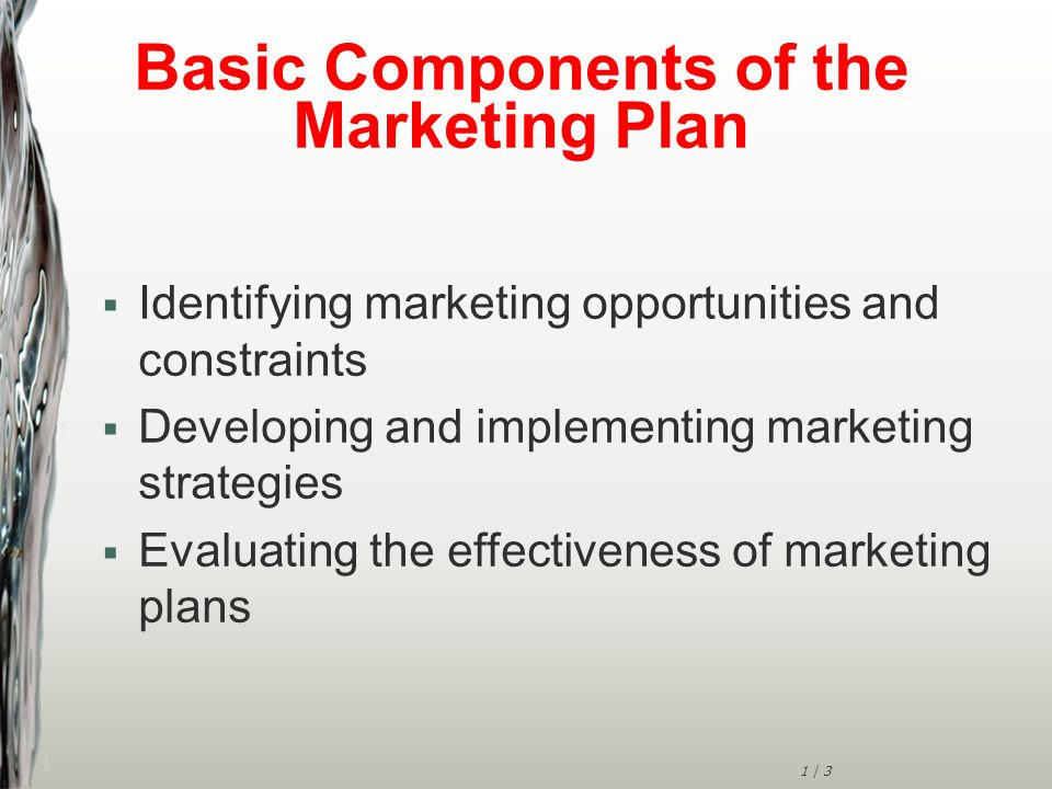 1 | 3 Basic Components of the Marketing Plan  Identifying marketing opportunities and constraints  Developing and implementing marketing strategies  Evaluating the effectiveness of marketing plans
