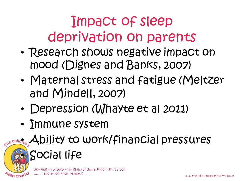 Impact of sleep deprivation on parents Working to ensure that children get a good night's sleep ………and so do their parents.