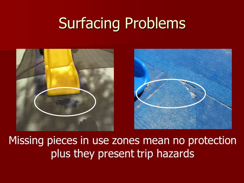 Surfacing Problems Missing pieces in use zones mean no protection plus they present trip hazards