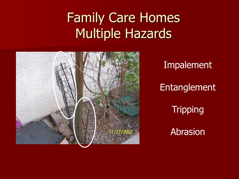 Family Care Homes Multiple Hazards Impalement Entanglement Tripping Abrasion